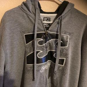 BILLABONG Men's Gray Full Zip Hoodie Sweatshirt